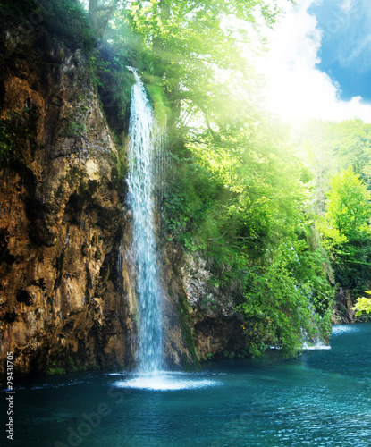 waterfall in deep forest - 29431705