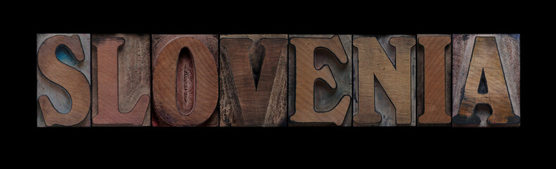 Slovenia in old wood type