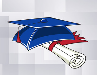 Graduation hat and a scroll on a blue square background