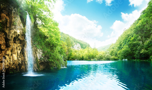 waterfall in deep forest - 29434366