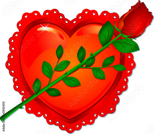 Rosa rossa con cuore - Red rose with heart