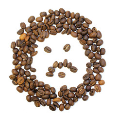 whole fanny coffee beans on white background