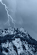 bad weather with lightning on the rocky mountain
