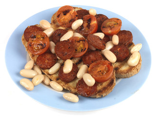 Chirozo and Cannellini Beans on Toast