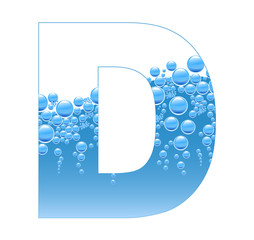 Bubbles and Water Isolated Alphabet Letter D