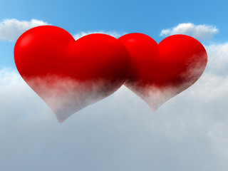 Two Hearts In Sky On Clouds