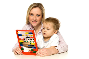 Mother and Son with Abacus
