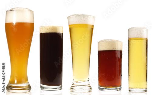 Leinwanddruck Bild Biersorten im Glas