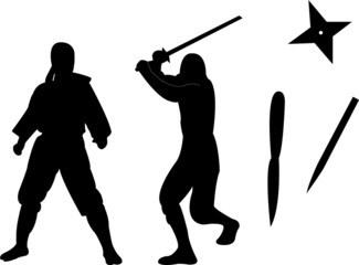 ninja with equipments silhouette - vector