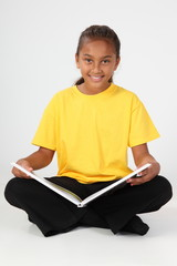 Learning by reading for young school girl 10 in yellow