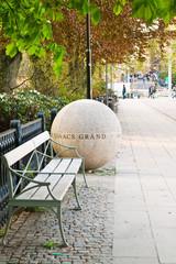 Каменный шар и скамейка
