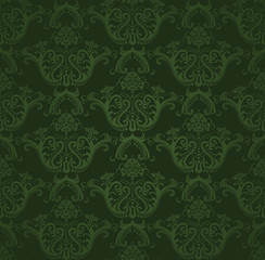 Dark green floral wallpaper