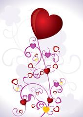 Heart Valentines Day background - vector illustration