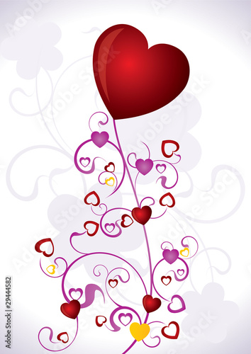 Heart Valentines Day background - vector illustration