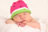 Newborn baby girl sleeping.
