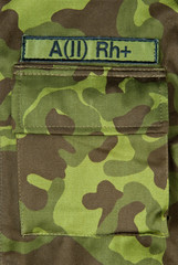 Blood type on military jacket
