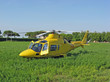 yellow helicopter rescue air ambulance during an emergency