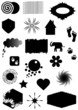 Set silhouettes black shapes and symbols, vector