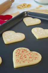 Pan of Heart Cookies