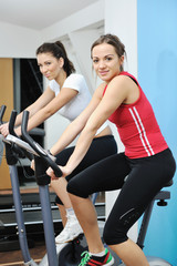 woman workout  in fitness club on running track
