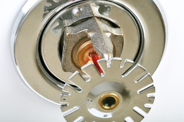 Close up image of fire sprinkler on white.