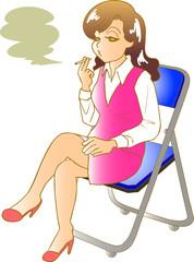 会社と仕事の休憩時間 煙草を吸う女性