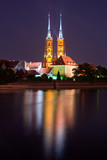 wroclaw cathedral at night