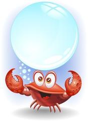 Granchio Cartoon con Bolla-Cartoon Crab and Big Bubble-Vector