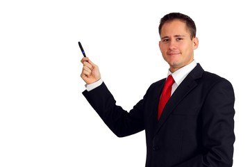 Handsome young man in a suit pointing with a pen