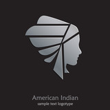 Logo American Indian on black background # Vector