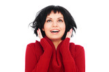 glad woman in red sweater poster