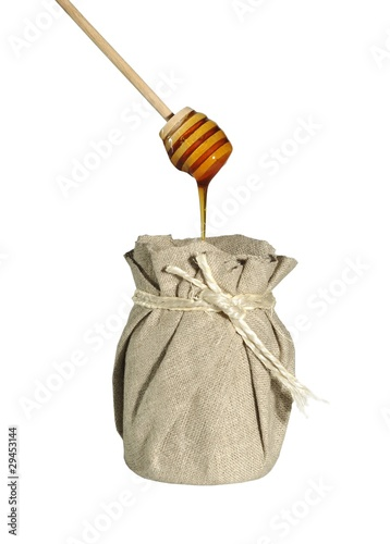jar of honey in canvas
