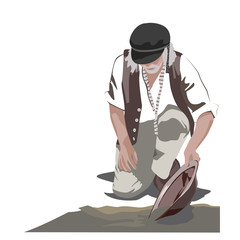 Gold Panning Man Illustration