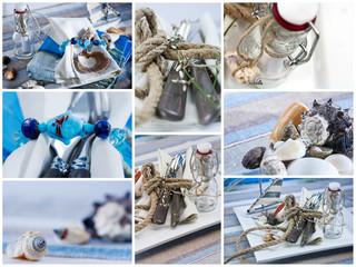 Bilderserie von maritimer Tischdeko