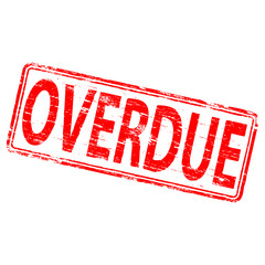 "Rubber stamp illustration showing ""OVERDUE"" text"