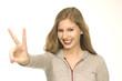 Frau mit Handzeichen