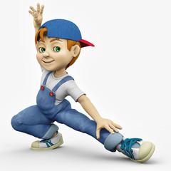 cartoon boy - happy stretch