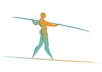 Equilibrista colorato su fondo bianco
