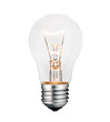 Glowing Lightbulb Photo Isolated on White Background