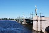 bridge across the river Neva in city Saint Petersburg, Russia poster