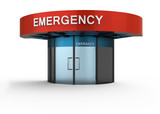 Emergency sign in hospital. Isolated white background. poster