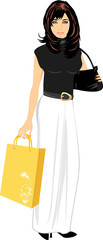 Elegant beautiful woman with handbag and package. Vector