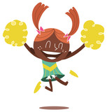 Illustration of a young smiling cheerleader jumping and cheering