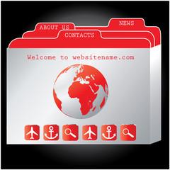 red website design template, vector.