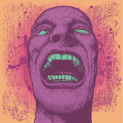 colorful vector background with screaming man's head