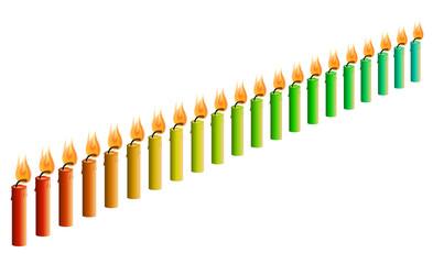 Farbverlauf 21 Kerzen rot nach türkis [V]