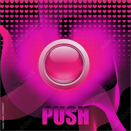 """Push the button"", abstract hot pink background"