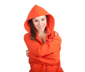 young woman in orange sweatshirt and hood