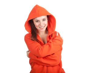young woman in orange sweatshirt and hood