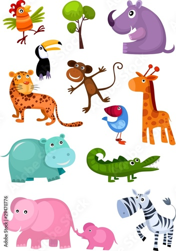 Poster Zoo animal set